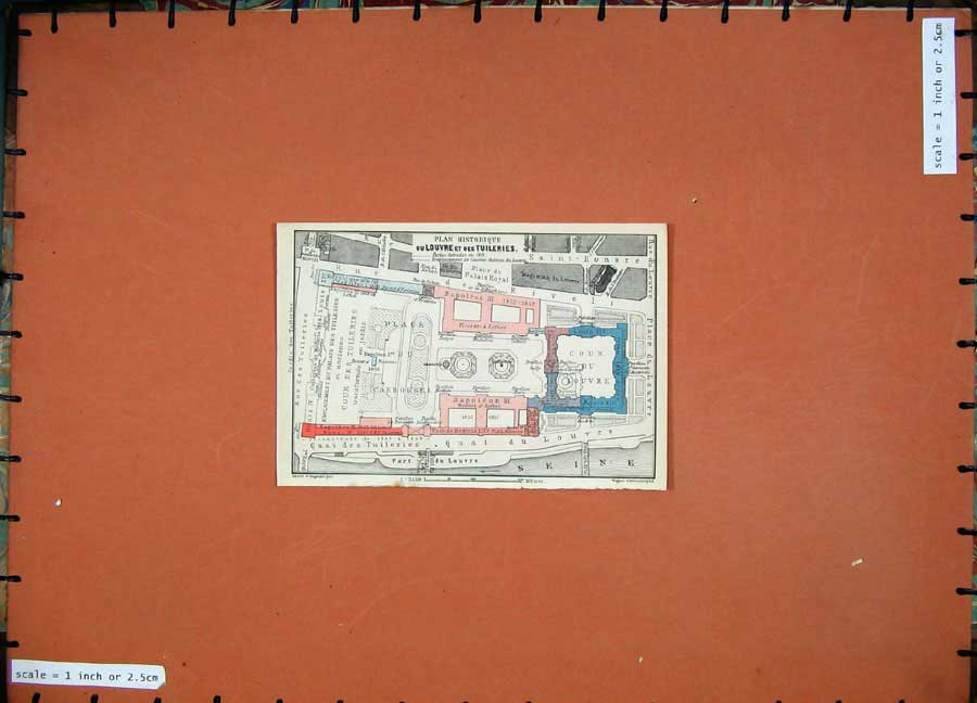 Print 1924 Colour Map France Plan Historique Louvre Tuileries 103D145 Old Original