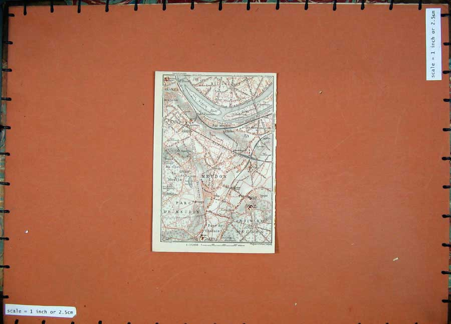Print 1924 Colour Map France Plan Boise De Meudon Sevres 108D145 Old Original