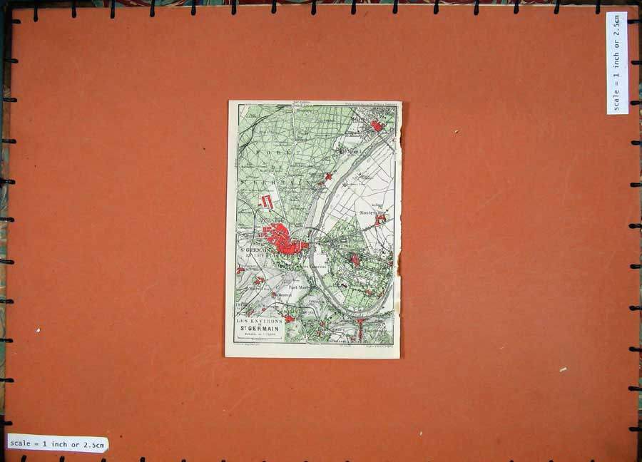 Print 1924 Colour Map France Plan Environs St Germain Foret 110D145 Old Original
