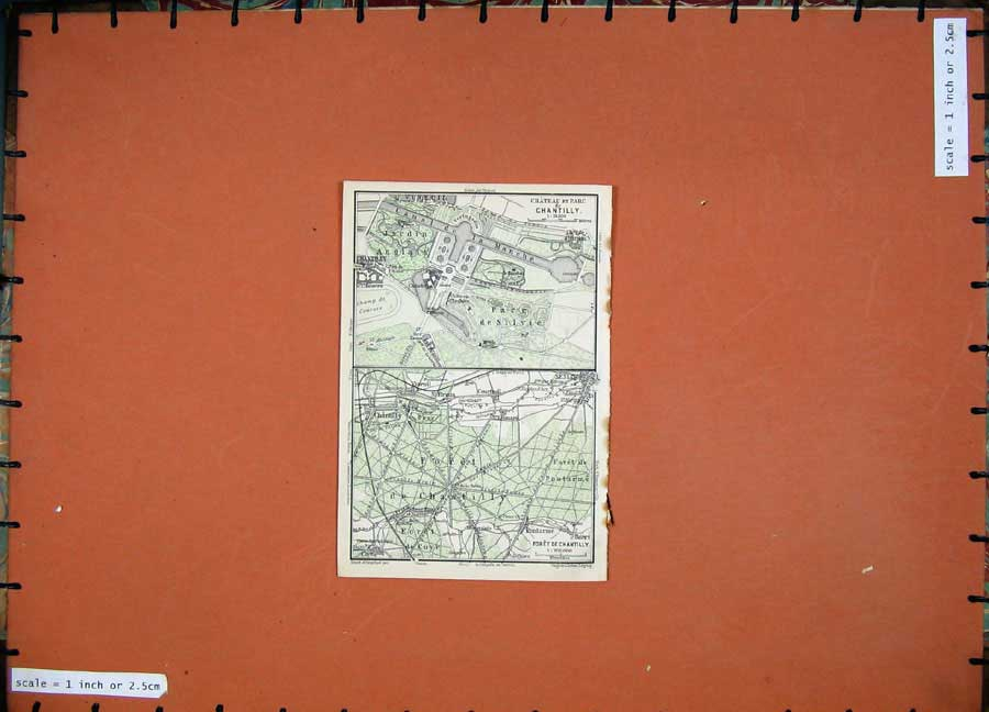 Print 1924 Colour Map France Plan Chateau Chantilly Foret 113D145 Old Original