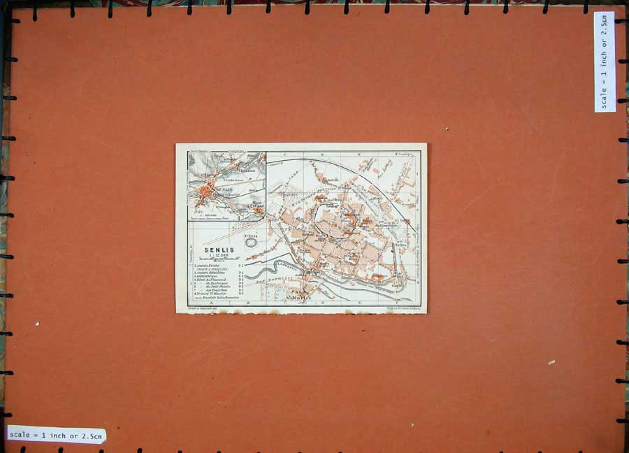 Print 1924 Colour Map France Street Plan Senlis La Nonette 114D145 Old Original