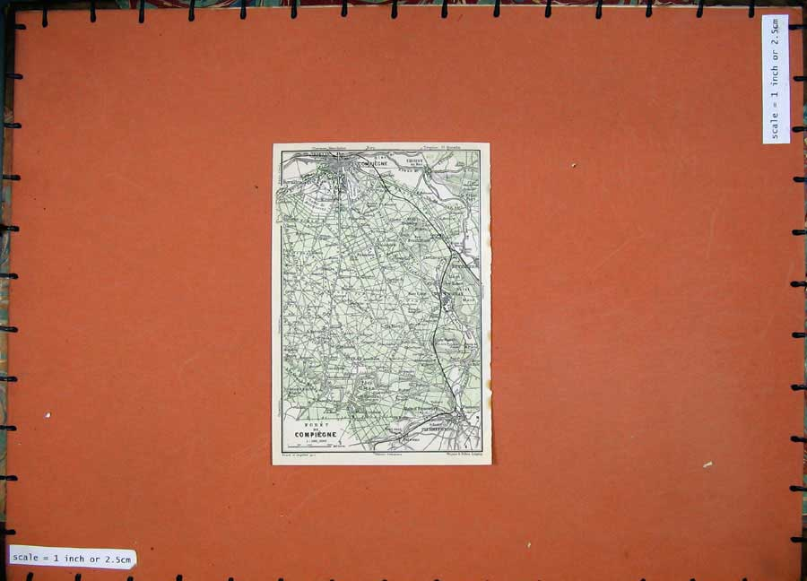 Print 1924 Colour Map France Plan Compiegne Pierrefonds 116D145 Old Original