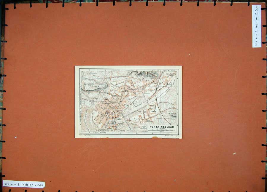 Print 1924 Colour Map France Street Plan Fontainebleau Avon 118D145 Old Original