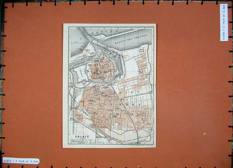 Print 1924 Colour Map France Street Plan Calais Citadelle 123D145 Old Original