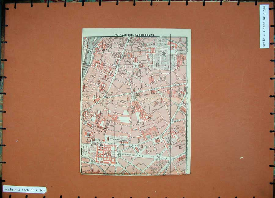 Print 1924 Colour Map France Plan Invalides Luxembourg Hotel 125D145 Old Original
