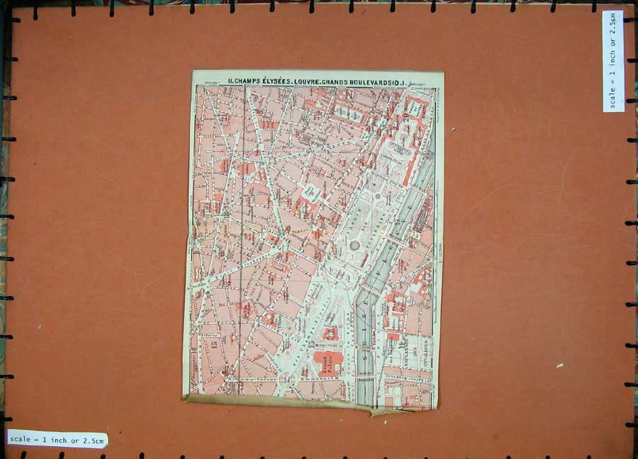 Print 1924 Colour Map France Champs Elysees Louvre Boulevards 127D145 Old Original