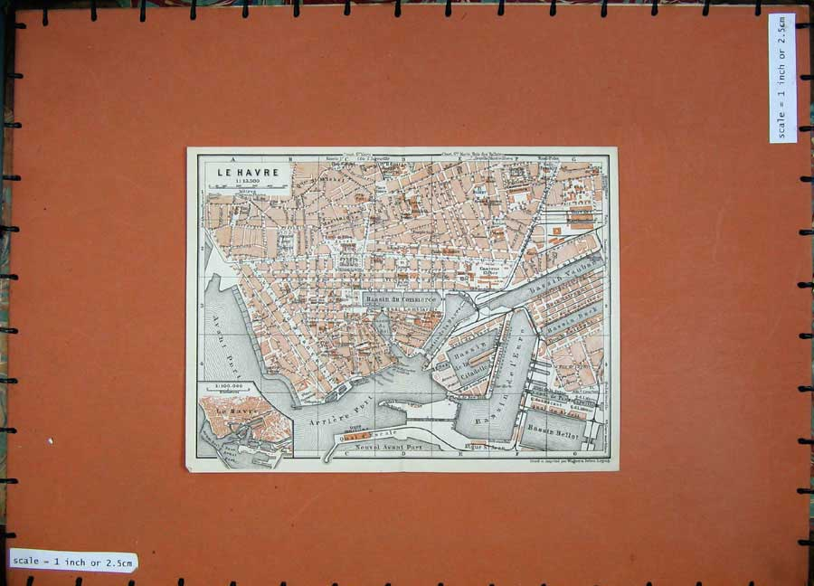 Print 1924 Colour Map France Street Plan Le Havre Port Bassin 137D145 Old Original