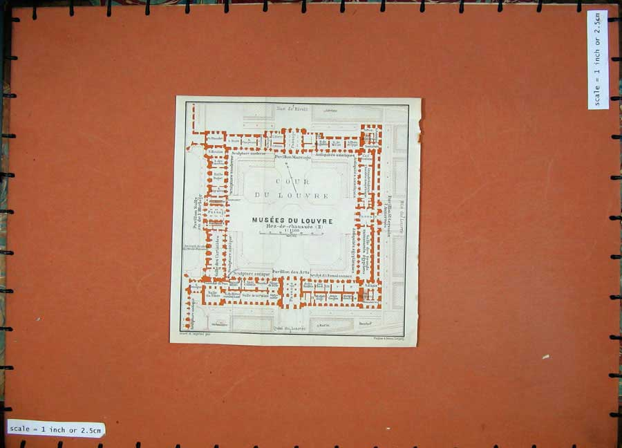 Print 1924 Colour Map France Plan Musees Du Louvre Paris Cour 143D145 Old Original