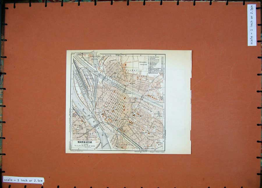Print 1936 Colour Map Germany Street Plan Darmstadt Mannheim 116Rd148 Old Original