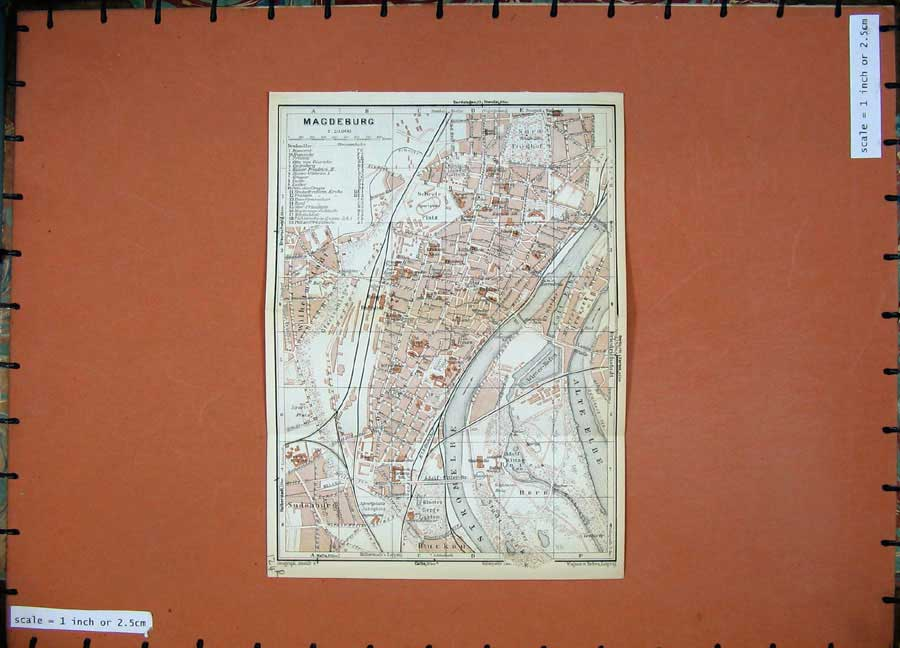 Print 1936 Colour Map Germany Street Plan Halle Magdeburg 124Rd148 Old Original