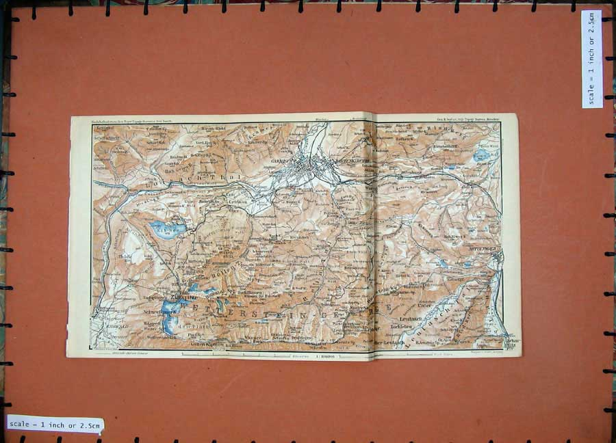 Print 1936 Colour Map Germany Rosenheim Zugspitez Wamberg 132Rd148 Old Original