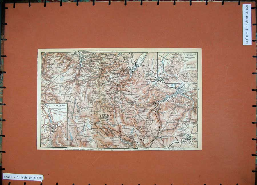 Print 1936 Colour Map Germany Harzburg Brocken Goslar Plan 137Rd148 Old Original