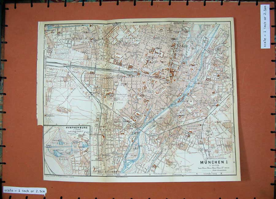 Print 1936 Colour Map Germany Street Plan Minchen Isar River 141Rd148 Old Original