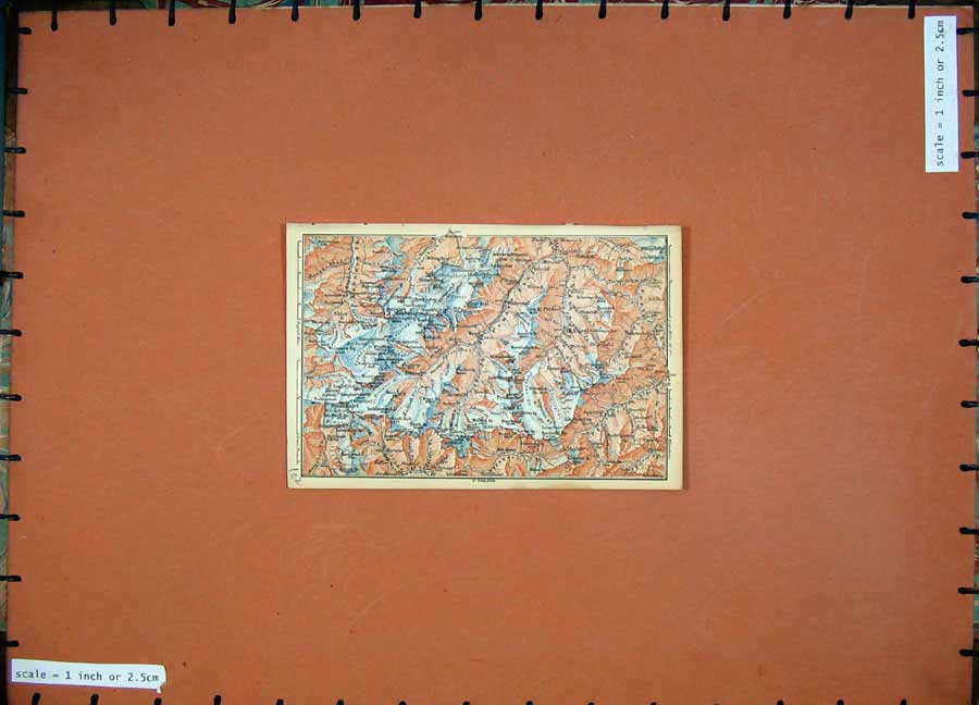 Print 1891 Colour Map Alps Mountains Hangerer Mittagskogl 102D149 Old Original