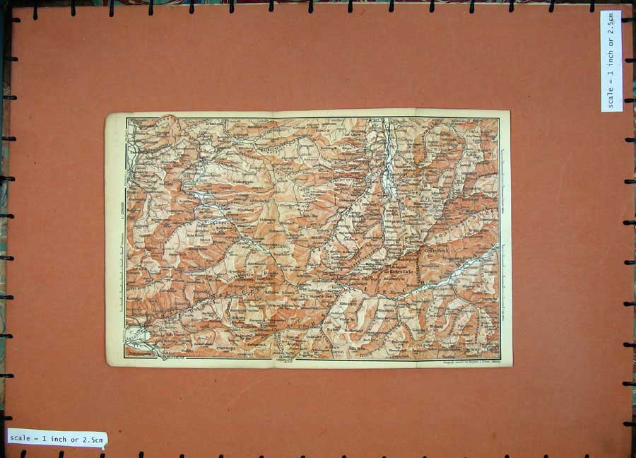 Print 1891 Colour Map Alps Bludenz Oberstdorf Dornbirn 106D149 Old Original