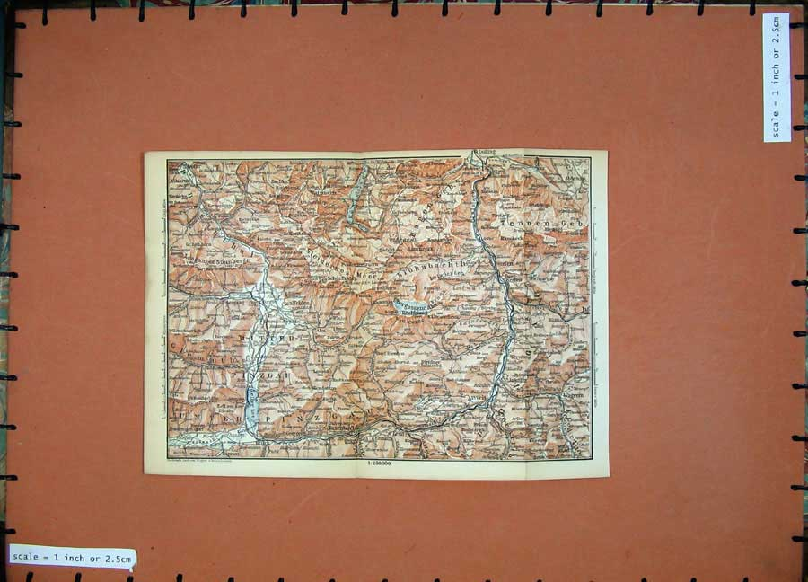 Print 1891 Colour Map Alps Lofer Veit Golling Wagrein Pinzgau 107D149 Old Original