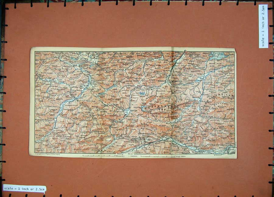 Print 1891 Colour Map Alps Innsbruck Mittewald Fussen Wengle 108Ad149 Old Original