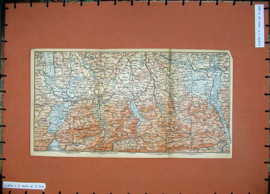 Print 1891 Colour Map Alps Rosenheim Aibling Mountains Tolz 109D149 Old Original