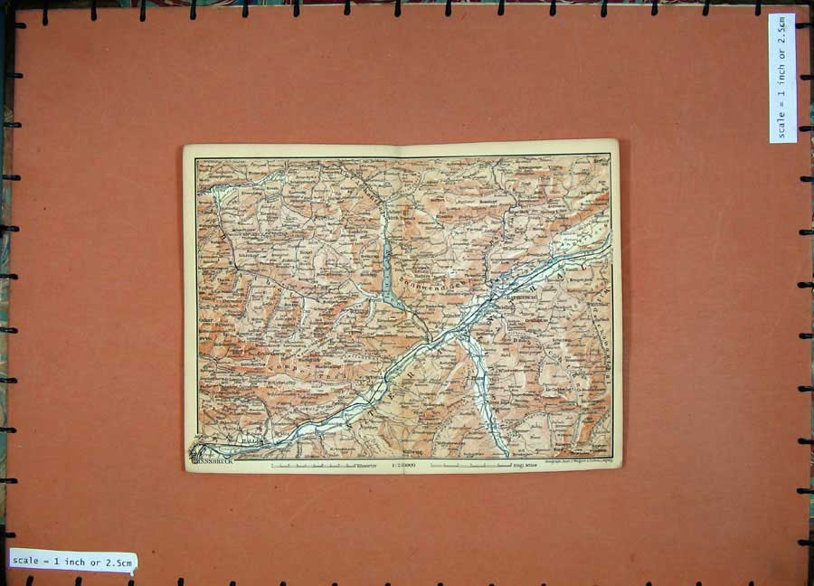 Print 1891 Colour Map Alps Innsbruck Rattenberg Hall Brixlegg 113D149 Old Original