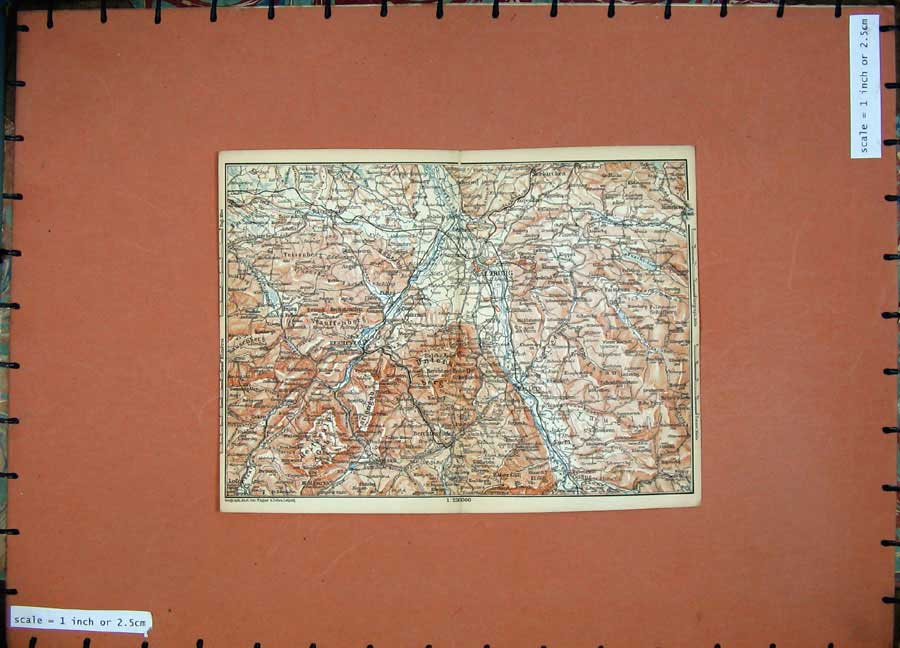 Print 1891 Colour Map Alps Salzburg Hallein Golling Lofer 115D149 Old Original