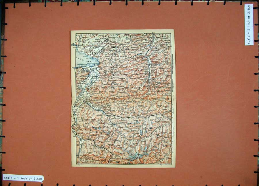 Print 1891 Colour Map Alps Wangen Bludenz Lindau Bregenz Chur 122D149 Old Original