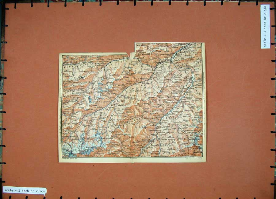 Print 1891 Colour Map Alps Piz Buin Landeck Nauders Mountains 124D149 Old Original