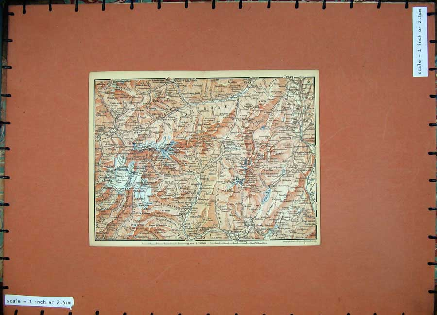 Print 1891 Colour Map Alps Mountains Cles Tione Vezzano Tione 127D149 Old Original
