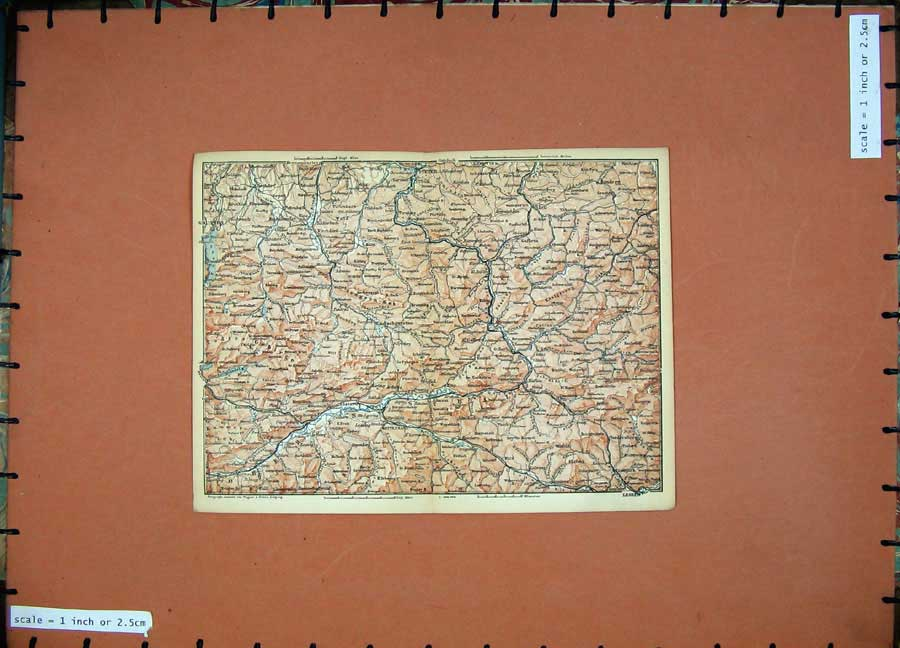 Print 1891 Colour Map Alps Mountains Gmunden Leoben Lietzen 130D149 Old Original