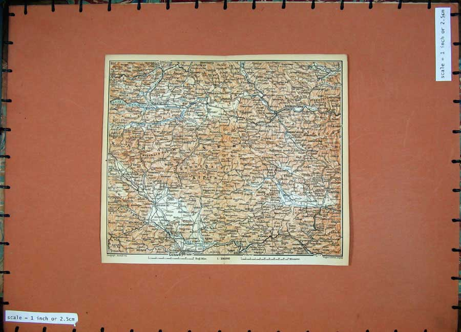 Print 1891 Colour Map Alps Krainburg Lairach Klagenfurt Stein 132D149 Old Original