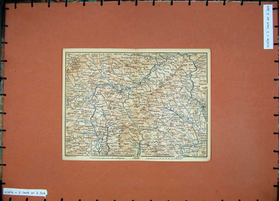 Print 1891 Colour Map Alps Knittelfeld Graz Wolfsbg Peggan 133D149 Old Original