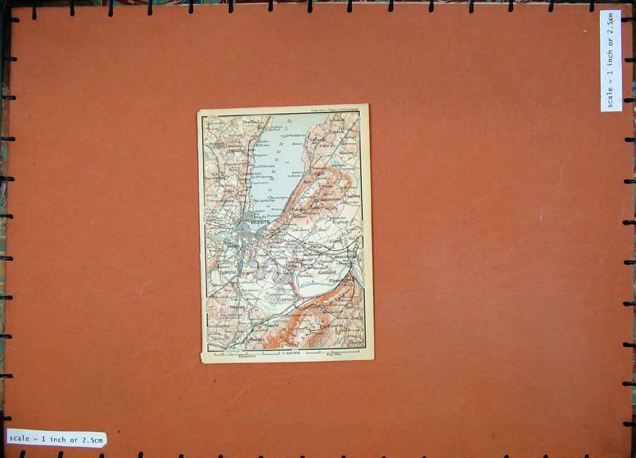 Print 1899 Colour Map Geneve Switzerland Gaillard 102D150 Old Original