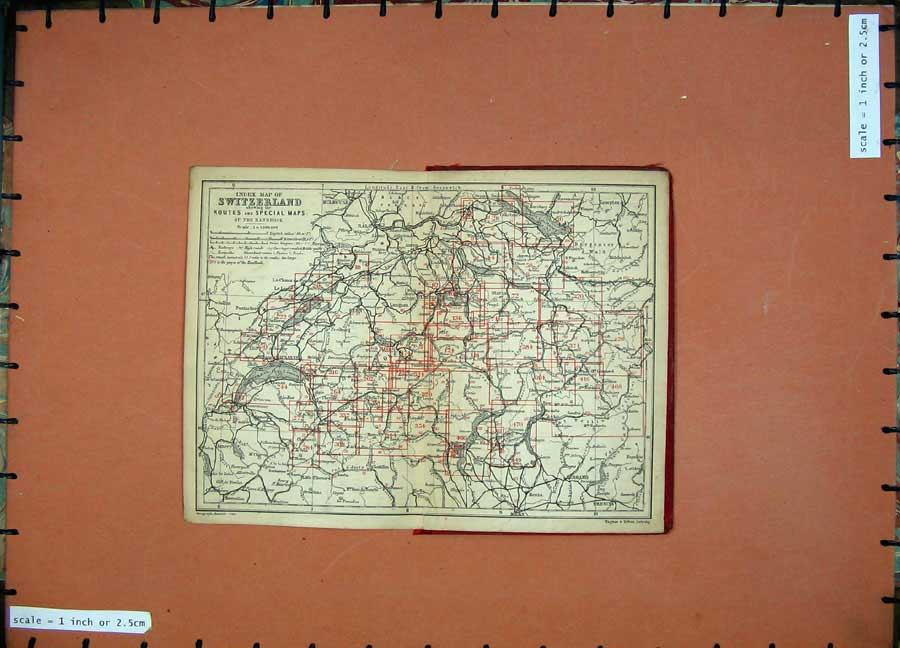 Print 1899 Colour Map Switzerland Europe Baedeker 104D150 Old Original