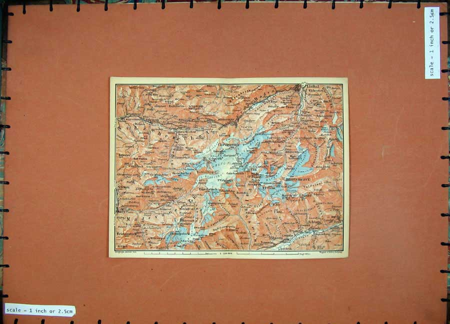 Print 1899 Colour Map Switzerland Todi Linthal Karl Baedeker 112D150 Old Original