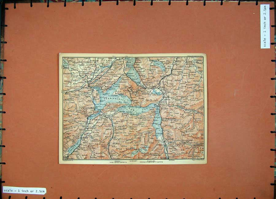 Print 1899 Colour Map Luzern Street Map Switzerland Schwye 113Rd150 Old Original
