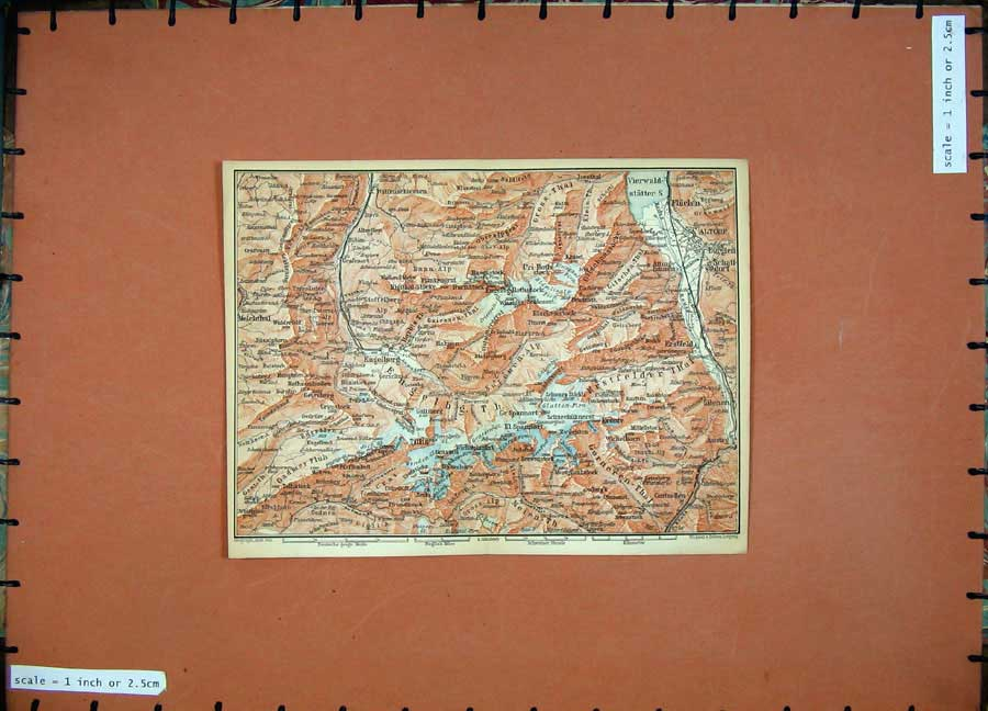 Print Colour Map 1899 Switzerland Titlis Altorf Engelberg 116D150 Old Original