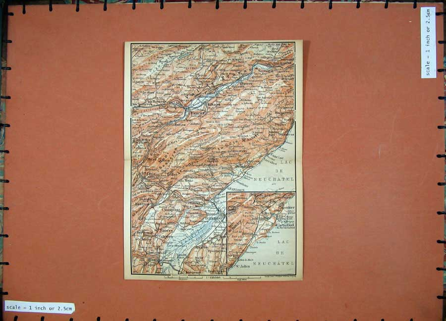 Print 1899 Colour Map Switzerland Grandson Aubin Cortaillod 118D150 Old Original
