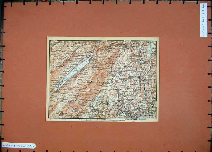 Print 1899 Colour Map Switzerland Gollion Mollens Sarraz 119D150 Old Original