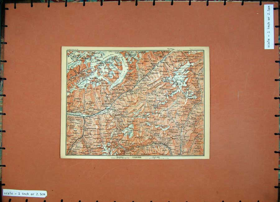 Print 1899 Colour Map Switzerland Brieg Lax Belwald 123D150 Old Original