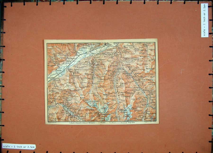 Print 1899 Colour Map Switzerland Chamoson Saillon 125D150 Old Original