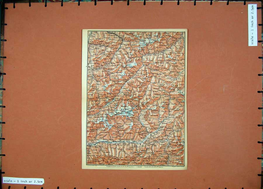 Print 1899 Colour Map Switzerland Sondrio Chur Karl Baedeker 128D150 Old Original