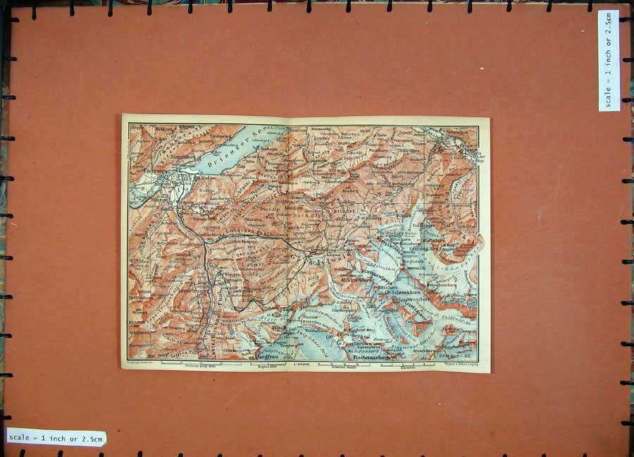 Print 1899 Colour Map Switzerland Monch Interlaken Matten 136Rd150 Old Original