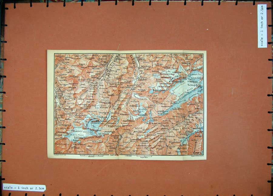 Print 1899 Colour Map Switzerland Kander Schilthorn 137D150 Old Original