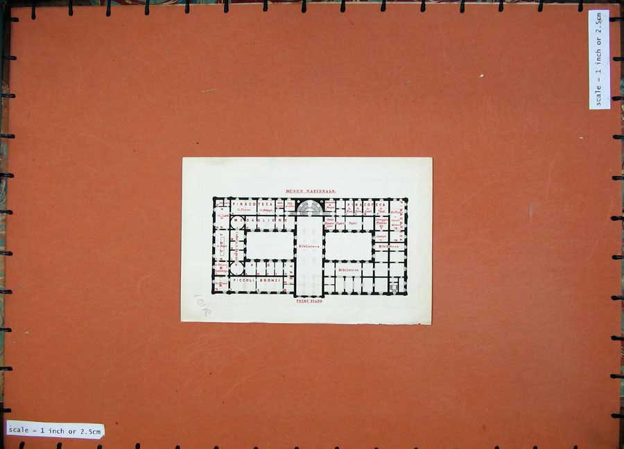 Print 1880 Colour Map Plan Museo Nazionale Italy 101Rd151 Old Original