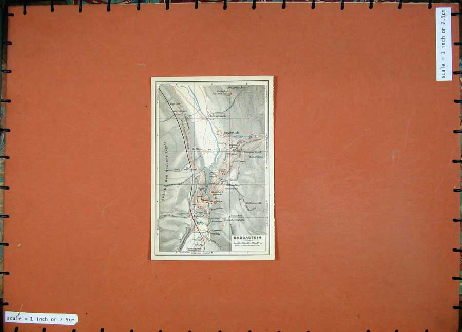 Print Badgastein Badbruck 1911 Colour Map Baedeker 104D152 Old Original