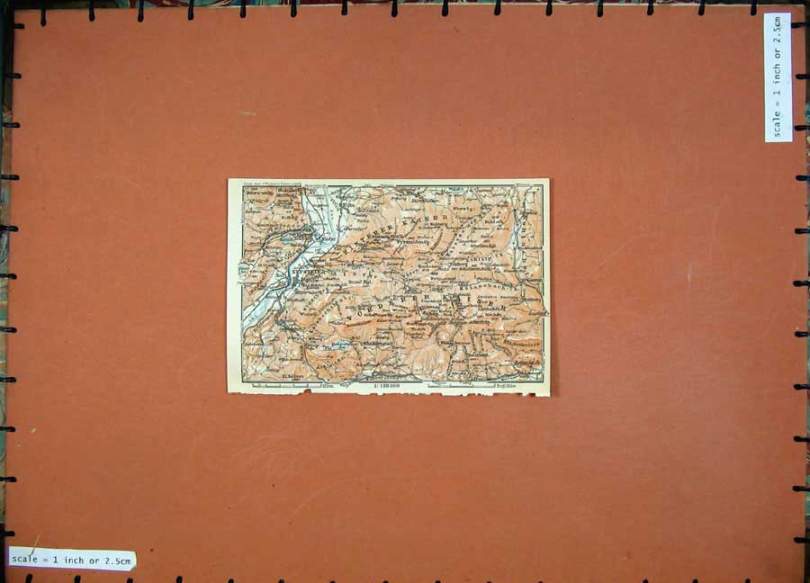 Print 1911 Colour Map Kufstein River Atlas Karl Baedeker 106D152 Old Original