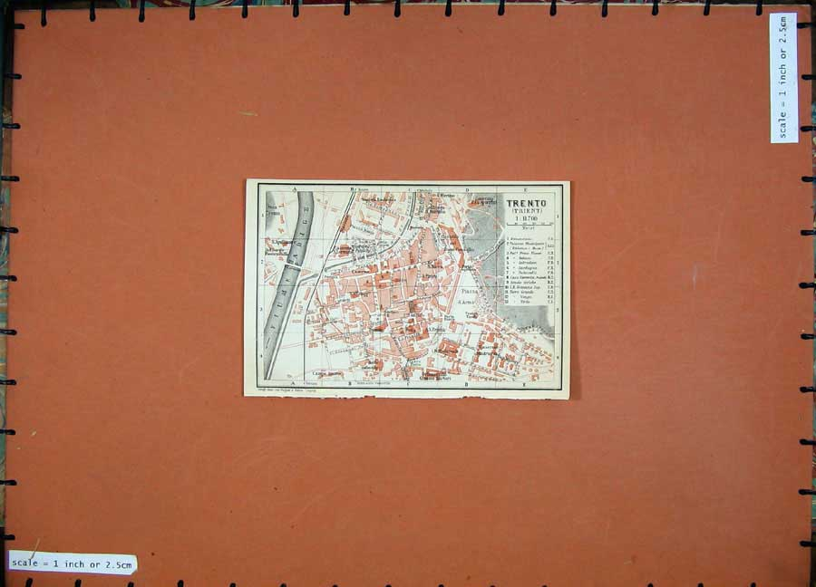 Print 1911 Colour Map Trento Street Plan Baedeker 110D152 Old Original