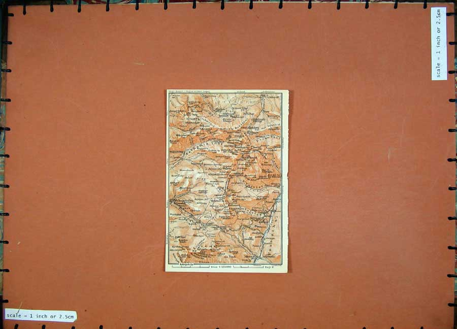 Print Schlern Welschnoren 1911 Colour Map Baedeker 112D152 Old Original
