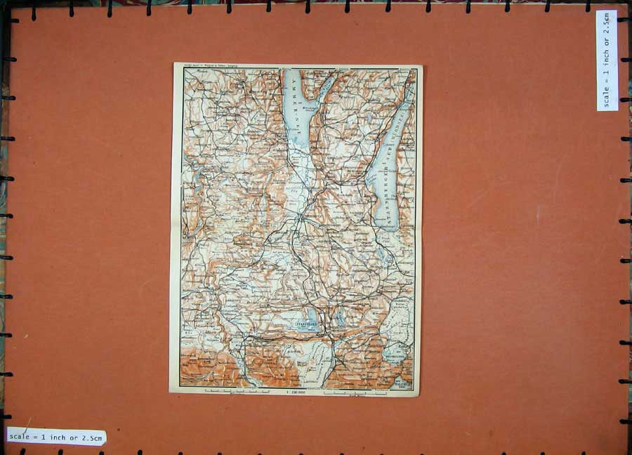Print 1911 Colour Map Weilhelm Murrau Karl Baedeker Atlas 117D152 Old Original
