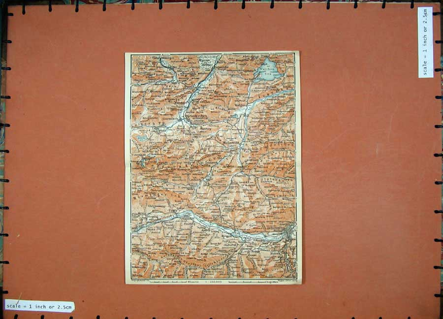 Print 1911 Colour Map Innsbruck Partenkirchen Mittenwald 119D152 Old Original