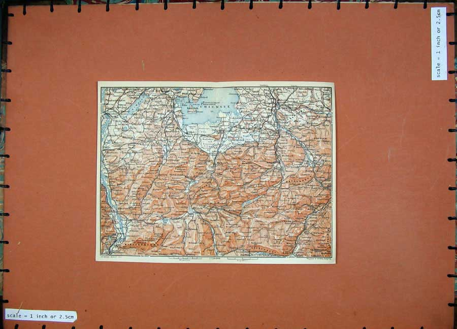 Print Chiemsee 1911 Colour Map Traunstein Karl Baedeker Atlas 121D152 Old Original
